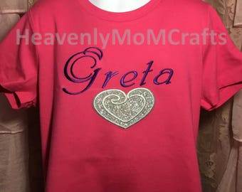 Embroidered Heart, Personalized Name, Love, Heart.