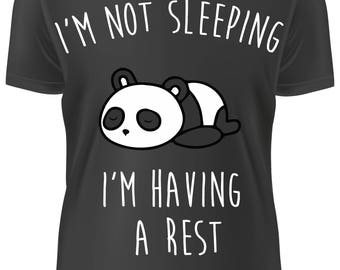 BLACK T-shirt - i'm not sleeping i'm having a rest PANDA - B-WD-020