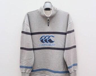 Vintage CANTERBURY Of New Zealand Big Logo Gray Sweater Sweatshirt Size M
