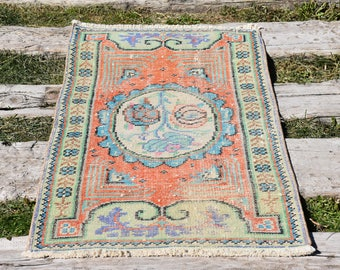 Vegetable Dyed Organic Wool Free Shipping Vintage Turkish Rug 2.3 x 4.1 feet Decorative Rug Bohemian Rug Floor Rug Aztec Wool Rug DC754