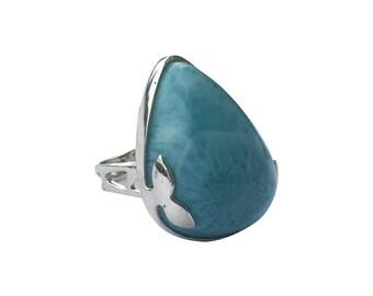 Blue Queen Larimar Silver Ring
