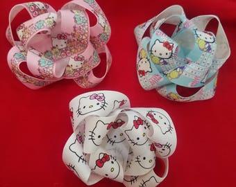 Hello Kitty Hair Bow Set of 3, Hello Kitty Hair clips