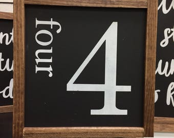 Family number wooden sign / gallery wall sign / rustic sign / handmade / wood sign / four wooden sign / farmhouse sign/ family