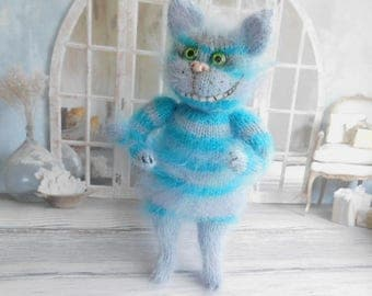 Knitted  Cat Cheshire cat Alise in Wonderland Cat toy gift Wool cat toys Stuffed  baby toy Personalized cat toy