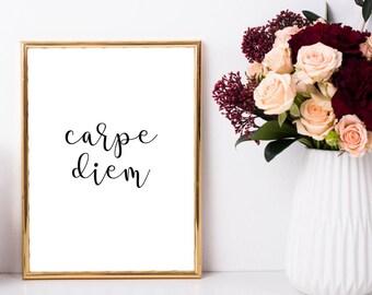Carpe Diem Print, Carpe Diem Poster, Carpe Diem Wall Art, Motivational Quote, Inspirational Quote, Typography Print, Minimalist, Scandi Art