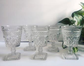 Vintage Set of Cut Glass Wine Glasses, Barware, Set of 5