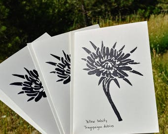 Hand Printed Linocut Flower Card