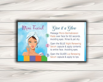 "Rodan and Fields Mini Facial Card / Rodan + Fields Cards / Digital File / 3"" x 5""-2"