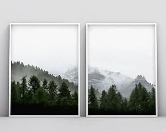 2 Piece Woodland Print, Forest Photography Printable, Landscape 2 Piece Print, 2 Piece Forest Print, Green, Fog, Mist, Misty Forest Print