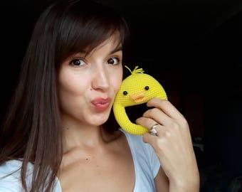 Crochet toy Crochet animal Rattles Crochet duck Crochet rattle Duck Rattle Baby rattle Baby shower gift Organic baby toy Yellow duck