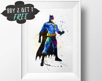 Batman Art Print Poster, Superhero Batman Wall Art Nursery Decor Printable Watercolor Instant Download, Boy Nursery Decor, Boys Room Decor