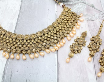 Antique Gold Kundan Pearl Indian Bollywood Choker Necklace Tikka & Earring Set Bridal Wedding