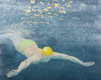 Original Art - Mini Swimmer no.26 - Painting in gouache, watercolour with gold leaf and mica. Open water swimmer, diver. Art by Nancy Farmer