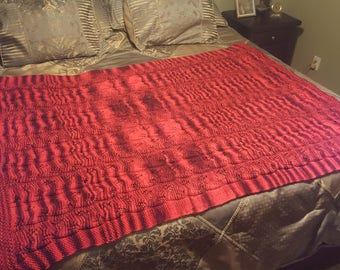 Knitted Afghan  Blanket, Red