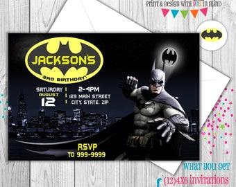 Batman invitation set of 12