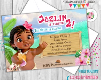Baby Moana party invitations set of 12