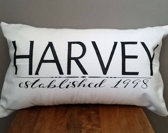 Custom name and date pillow cover