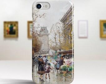 """Eugène Galien-Laloue, """"Flower Market"""". iPhone 8 Case Art iPhone 7 Case iPhone 6 Plus Case and more. iPhone 8 TOUGH cases. Art iphone cases."""