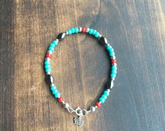 I Love You! Beautiful and Fun!  Hematite, Turquoise and Red Beads, Stertling Silver Bracelet!