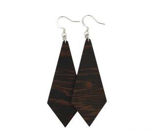 Wenge Diamond Earrings, wood earrings, wooden earrings, lightweight earrings, natural wood earrings, casual earrings, organic earrings