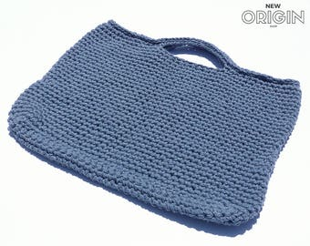 Crochet Bag// Crochet Tote// Denim Handbag//-blue jean bag