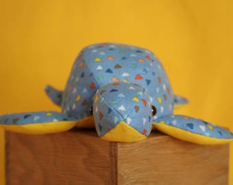 Handmade Soft Toy Turtle with Triangles (small), plushie, baby shower gift, toddler toy, plush doll, children toys, soft doll, handmade gift