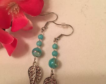 Small earrings leaf, turquoise beads