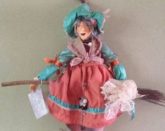 Rare witches of pendle - Abigale Terracotta - Kasma Collections Pre Owned - Witch Flying on broom - Collectable