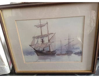 Peter  knox Brigantine leaving the quay - signed print - framed - nautical boats ship sailing sea ocean