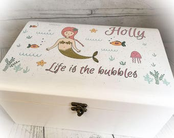 Personalised White Wooden Sturdy Keepsake Box Mermaids / Bubbles -GIFT