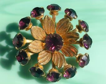 Flower Jewelry | Purple Flower Pin | Rhinestone Flower Brooch | Floral Jewelry | Gifts for Her | Rhinestone Jewelry | Vintage Jewelry