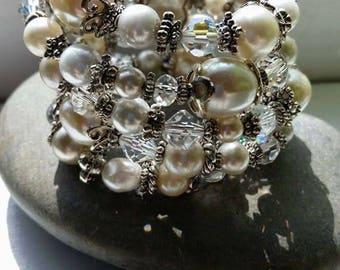 Multi-layered Vintage Pearl and Crystal wrap bracelet