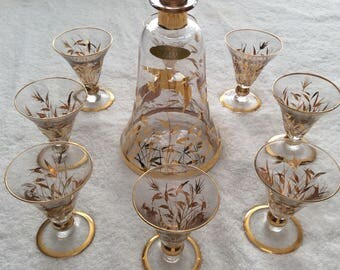 Vintage Crystal and Gold Decanter made in France