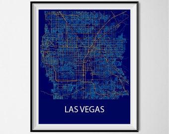 Las Vegas Map Poster Print - Night