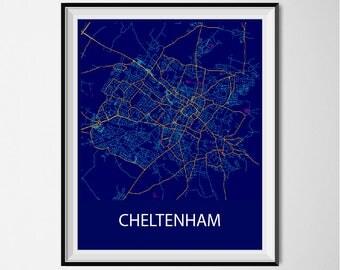 Cheltenham Map Poster Print - Night