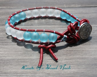 Single leather wrap sea glass beaded bracelet, 8 mm recycled sea glass