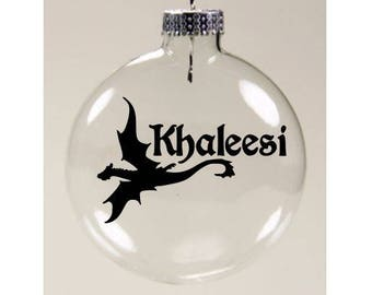 Game of Thrones Khaleesi Dragon Christmas Ornament Glass Disc Holiday Horror Black Friday Merch Massacre