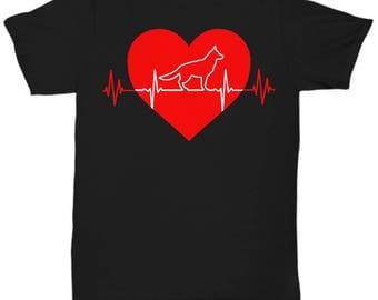 German Shepherd Heartbeat T Shirts - GSD Tee Shirt