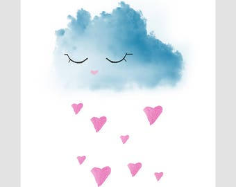 Digital Printable Artwork Rainy Cloud Nursery Wall Decor You Make Me Happy When Skies Are Gray
