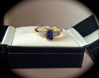 "Tanzanite and Diamond Ring 9ct Yellow Gold Size N (US 7) ""Certified"" - Exquisite Colour"