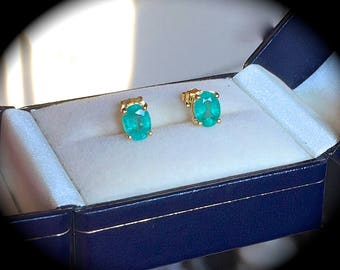 Large 1.55ct Natural Emerald Earrings 9ct Y Gold Earrings - 'Certified' Exquisite Colour & Glow