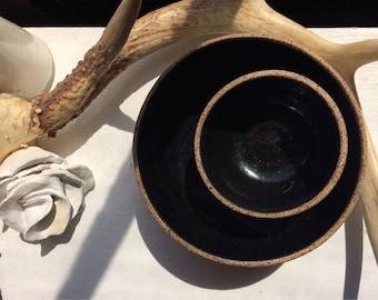Luna Negra Set of Two Nesting Bowls. Handmade, Wheel thrown Pottery.