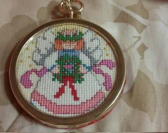 Angel cross stitch Christmas ornament