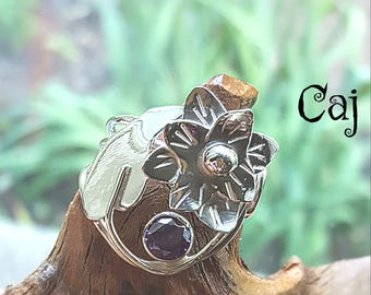 Statement Floral Ring with Amethyst