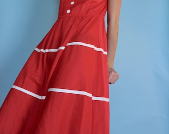 Simple summer classic day mid calf red sailor 60s dress