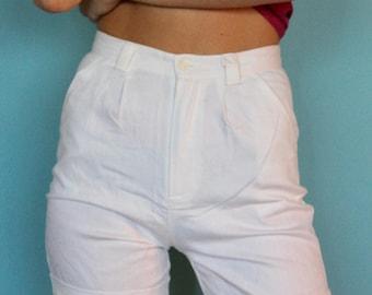 70s high waist shorts, Sailor Shorts, 70s classic shorts, Cotton shorts, White shorts, Women Size 0 , Size 24, trouser High Waist shorts