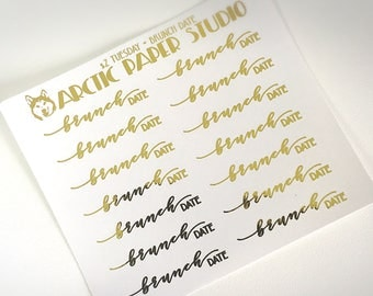 Brunch Date Scripts - FOILED Sampler Event Icons Planner Stickers