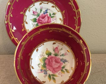 Aynsley Bone China Tea Cup, England, Cranberry, Pink Roses, Scalloped Edge, Gold Trim