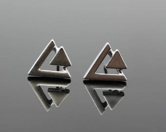 Triangle Jewelry,Triangle Earrings,Silver Triangle Earrings,Silver Triangle Jewelry,Geometric Earrings,Geometric Jewelry