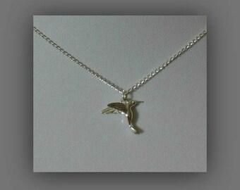 Silver Bird Necklace,Silver Bird Jewelry,Bird Jewelry,Hummingbird Necklace,Tiny Silver Hummingbird Necklace Pendant Jewelry,Native American